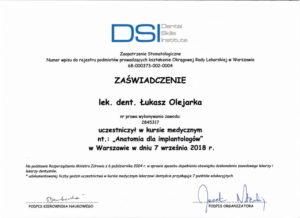 Łukasz Olejarka - certyfikat 11