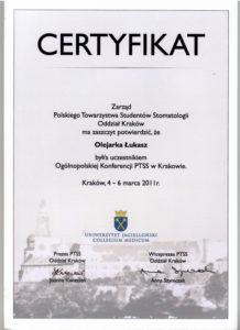 Łukasz Olejarka - certyfikat 14