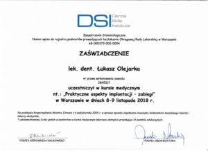 Łukasz Olejarka - certyfikat 15
