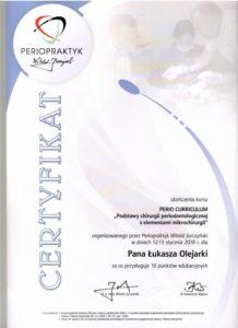Łukasz Olejarka - certyfikat 18