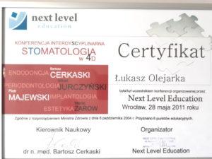 Łukasz Olejarka - certyfikat 2