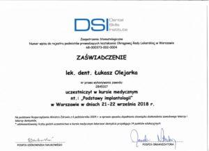 Łukasz Olejarka - certyfikat 21