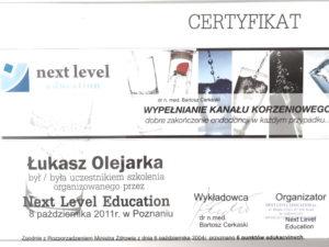 Łukasz Olejarka - certyfikat 4